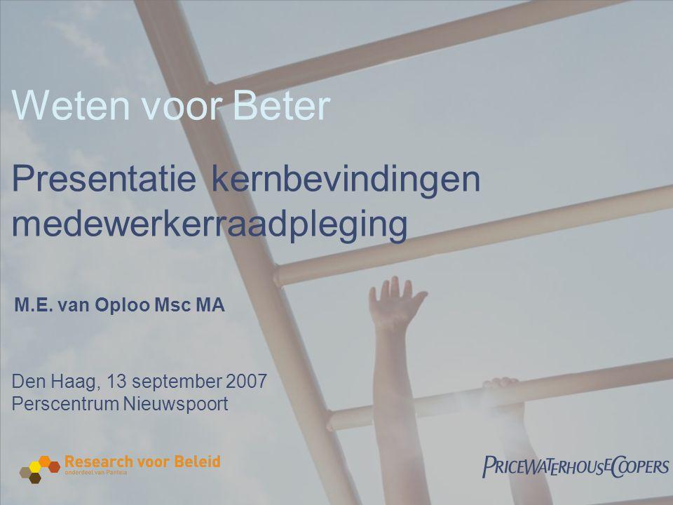  Weten voor Beter Presentatie kernbevindingen medewerkerraadpleging Den Haag, 13 september 2007 Perscentrum Nieuwspoort M.E.