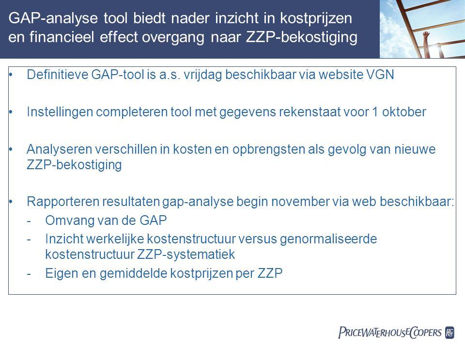  GAP-analyse tool biedt nader inzicht in kostprijzen en financieel effect overgang naar ZZP-bekostiging Definitieve GAP-tool is a.s.