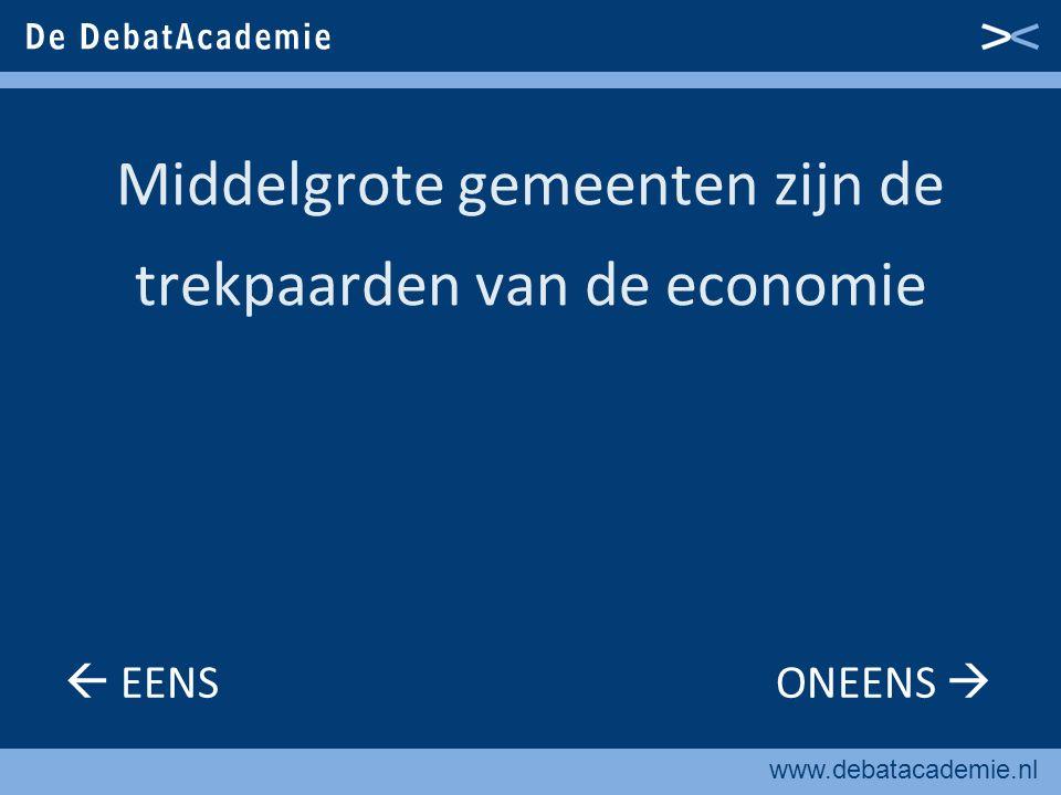 www.debatacademie.nl Middelgrote gemeenten zijn de trekpaarden van de economie  EENS ONEENS 