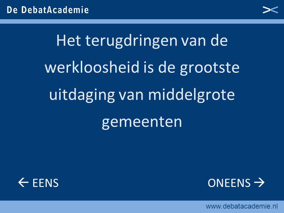 www.debatacademie.nl Iedere middelgrote gemeente moet met de regio een robuuste sociaaleconomisch agenda opstellen  EENS ONEENS 