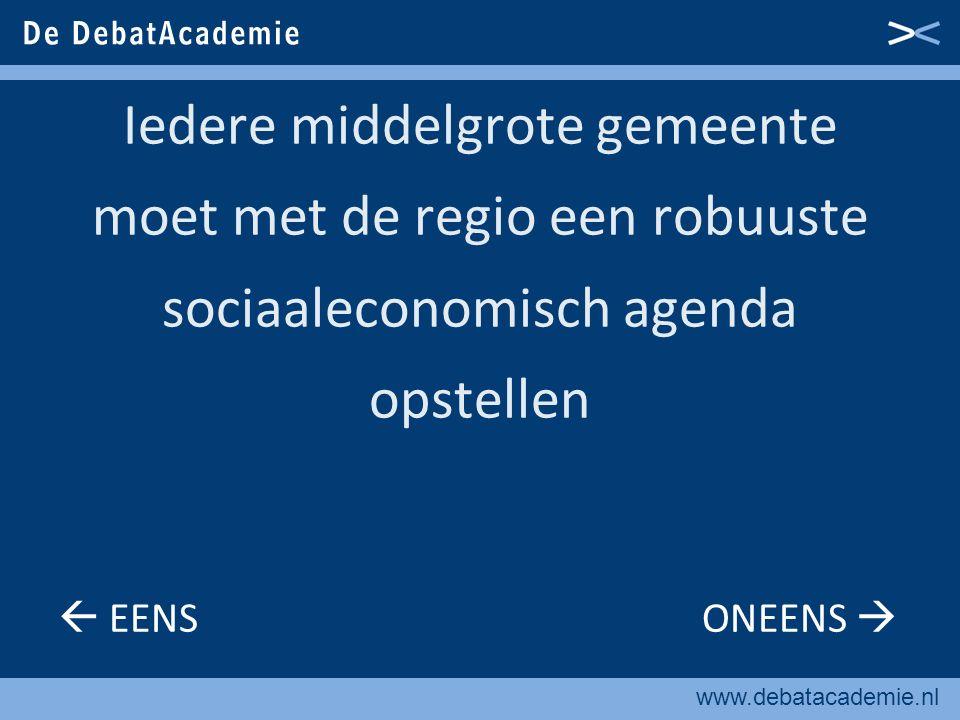 www.debatacademie.nl Middelgrote gemeenten moeten zwaar inzetten op kwaliteit van wonen  EENS ONEENS 