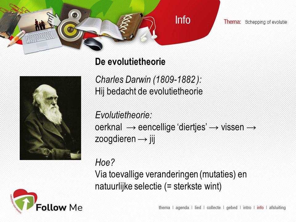 De evolutietheorie Charles Darwin (1809-1882 ): Hij bedacht de evolutietheorie Evolutietheorie: oerknal → eencellige 'diertjes' → vissen → zoogdieren → jij Hoe.