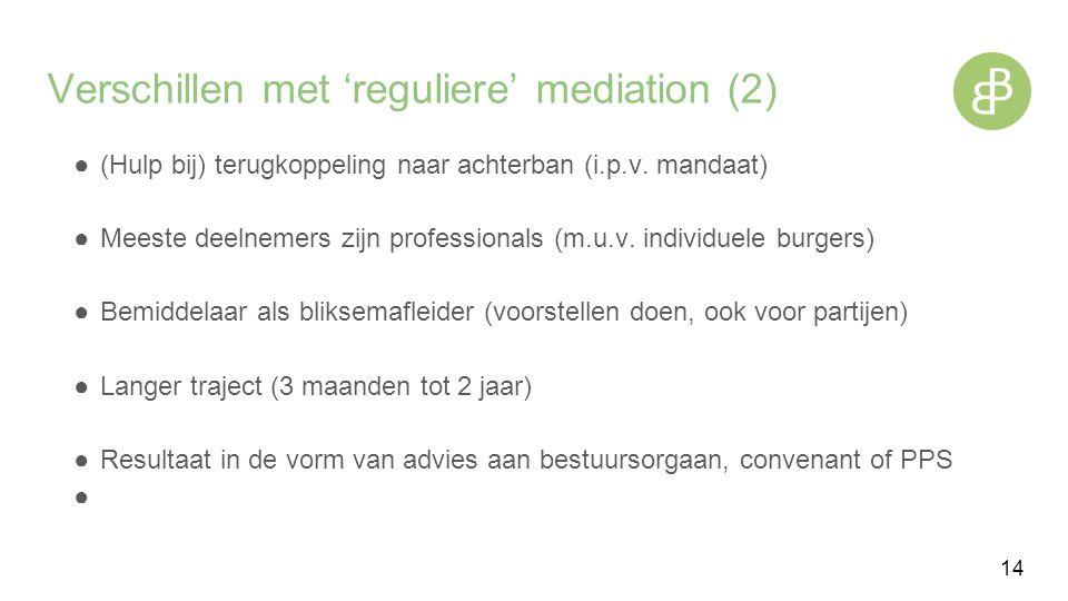Verschillen met 'reguliere' mediation (2) ●(Hulp bij) terugkoppeling naar achterban (i.p.v.