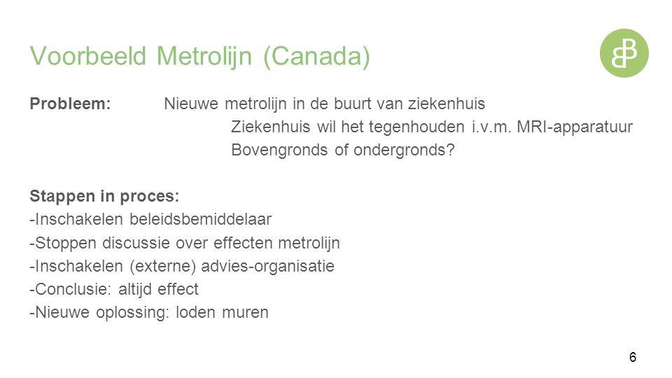 Voorbeeld Metrolijn (Canada) Probleem:Nieuwe metrolijn in de buurt van ziekenhuis Ziekenhuis wil het tegenhouden i.v.m.