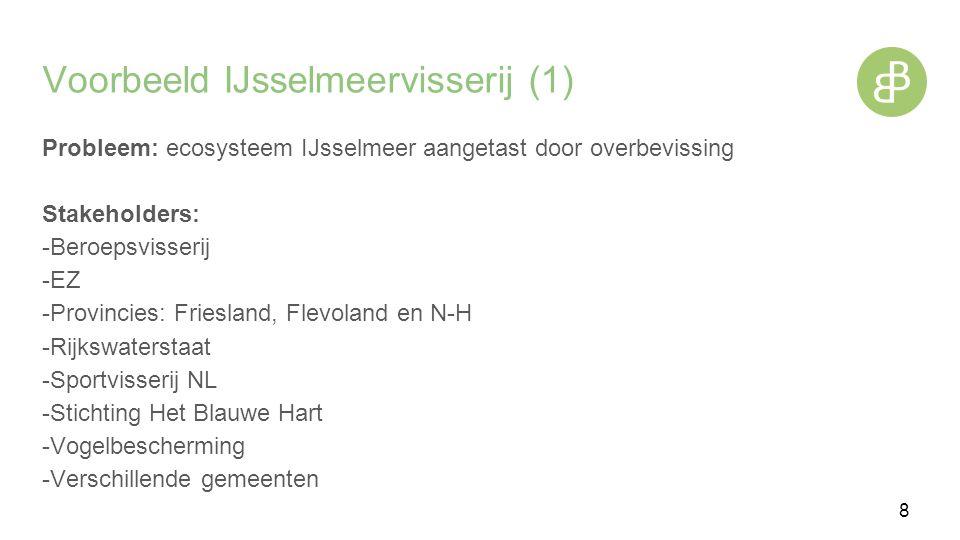 Voorbeeld IJsselmeervisserij (1) Probleem: ecosysteem IJsselmeer aangetast door overbevissing Stakeholders: -Beroepsvisserij -EZ -Provincies: Friesland, Flevoland en N-H -Rijkswaterstaat -Sportvisserij NL -Stichting Het Blauwe Hart -Vogelbescherming -Verschillende gemeenten 8