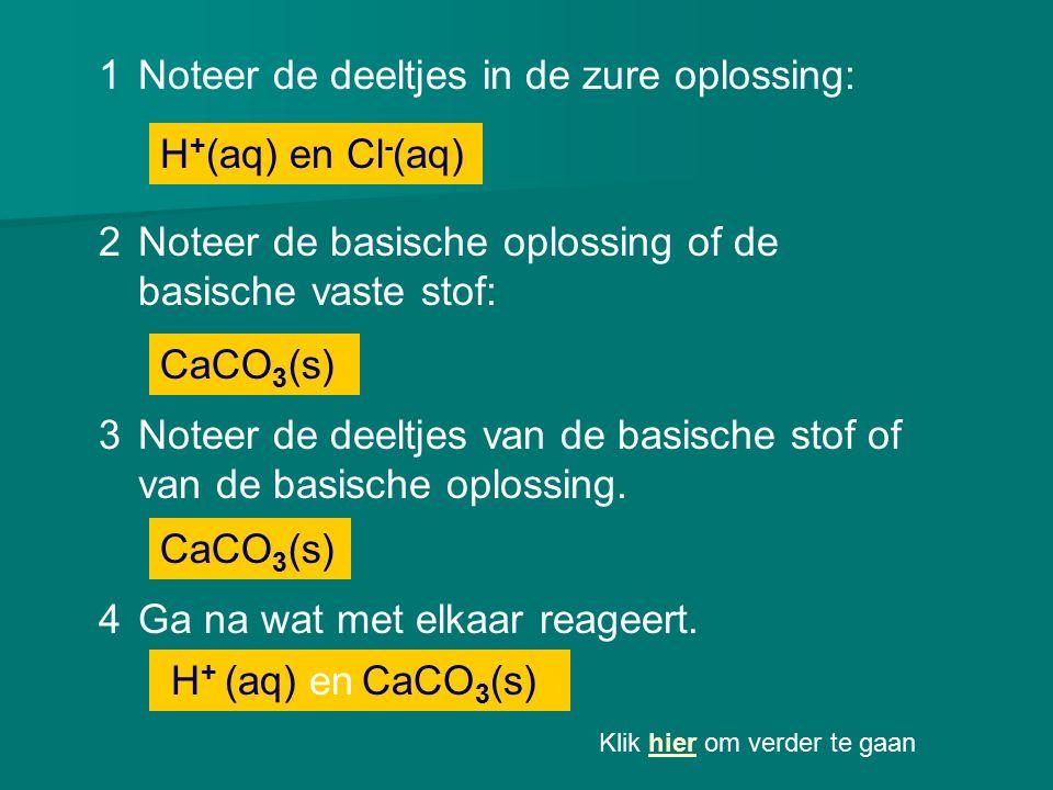 1Noteer de deeltjes in de zure oplossing: CaCO 3 (s) 2Noteer de basische oplossing of de basische vaste stof: H + (aq) en Cl - (aq) 3Noteer de deeltje