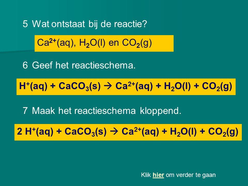 Ca 2+ (aq), H 2 O(l) en CO 2 (g) 5Wat ontstaat bij de reactie? H + (aq) + CaCO 3 (s)  Ca 2+ (aq) + H 2 O(l) + CO 2 (g) 6Geef het reactieschema. 2 H +