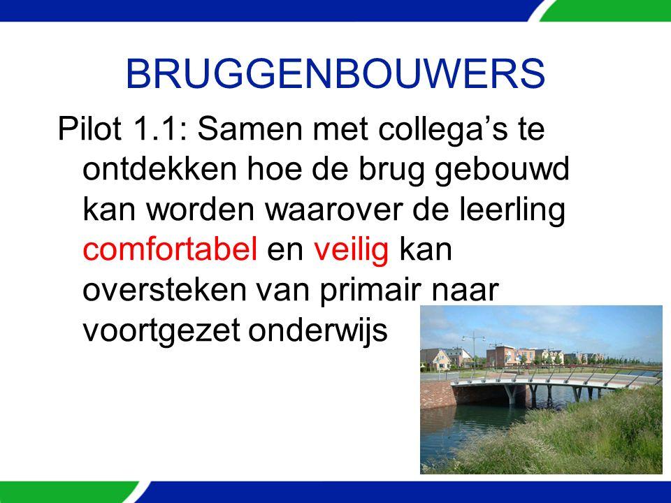 BRUGGENBOUWERS Pilot 1.1: Samen met collega's te ontdekken hoe de brug gebouwd kan worden waarover de leerling comfortabel en veilig kan oversteken van primair naar voortgezet onderwijs