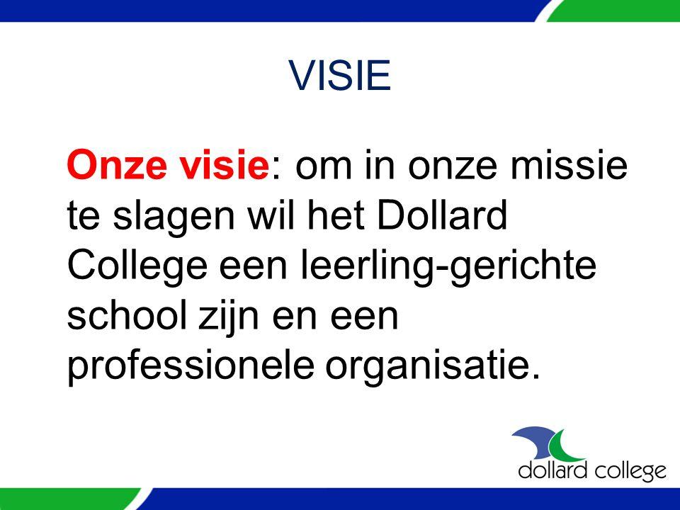 VISIE Onze visie: om in onze missie te slagen wil het Dollard College een leerling-gerichte school zijn en een professionele organisatie.
