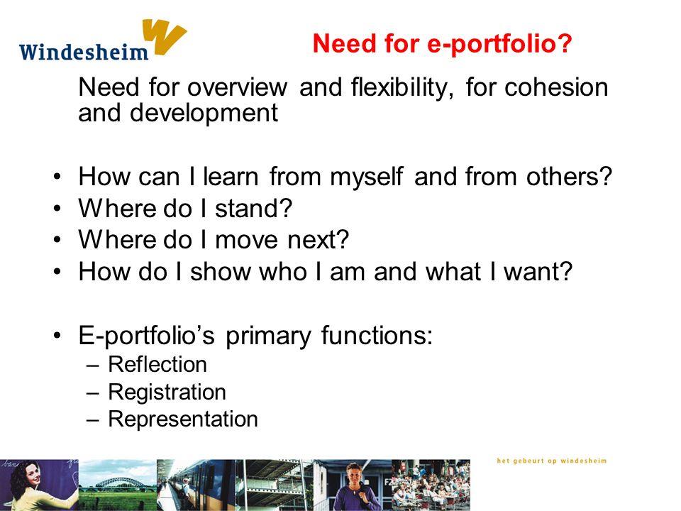 Need for e-portfolio.