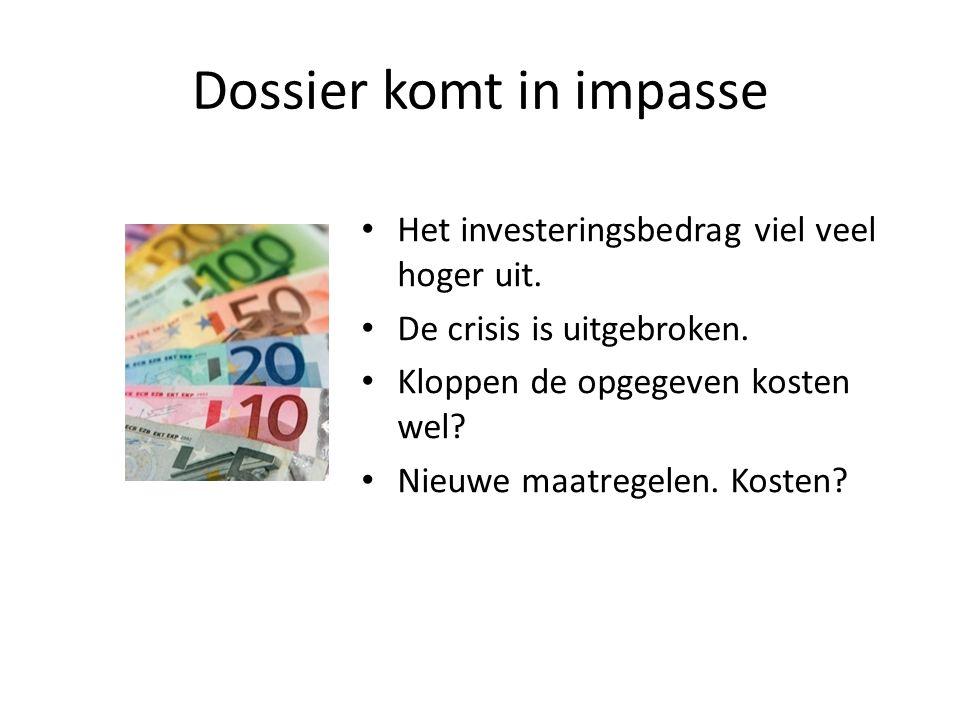 Dossier komt in impasse Het investeringsbedrag viel veel hoger uit.