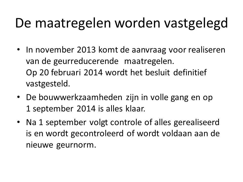 De maatregelen worden vastgelegd In november 2013 komt de aanvraag voor realiseren van de geurreducerende maatregelen.