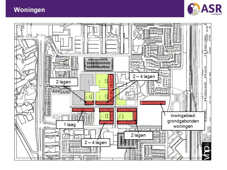 Woningen 1 laag 2 – 4 lagen inwingebied: grondgebonden woningen 2 lagen 2 – 4 lagen 2 lagen