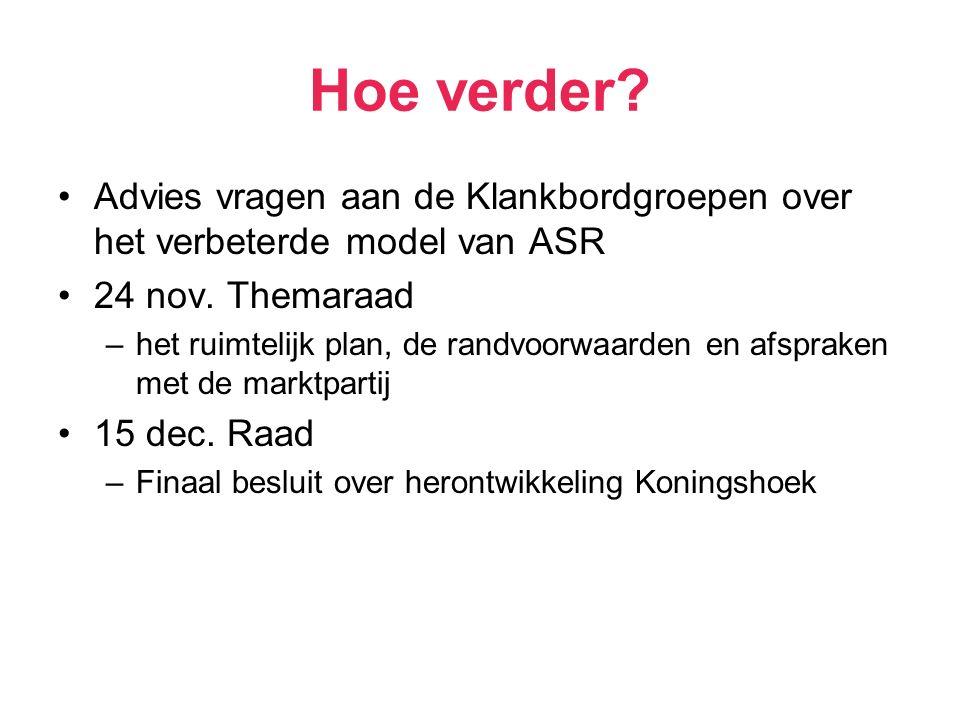 Hoe verder. Advies vragen aan de Klankbordgroepen over het verbeterde model van ASR 24 nov.