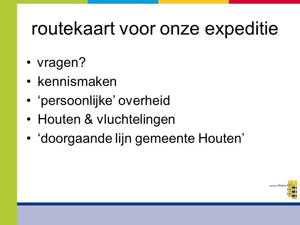 routekaart voor onze expeditie vragen? kennismaken 'persoonlijke' overheid Houten & vluchtelingen 'doorgaande lijn gemeente Houten'