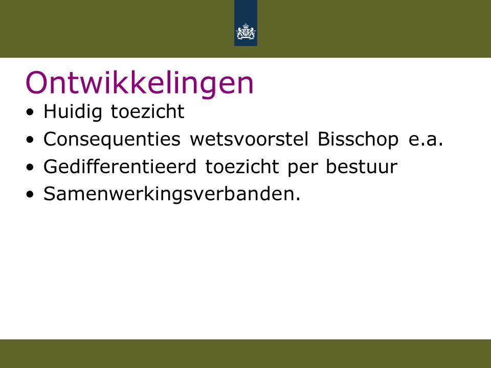 Ontwikkelingen Huidig toezicht Consequenties wetsvoorstel Bisschop e.a.