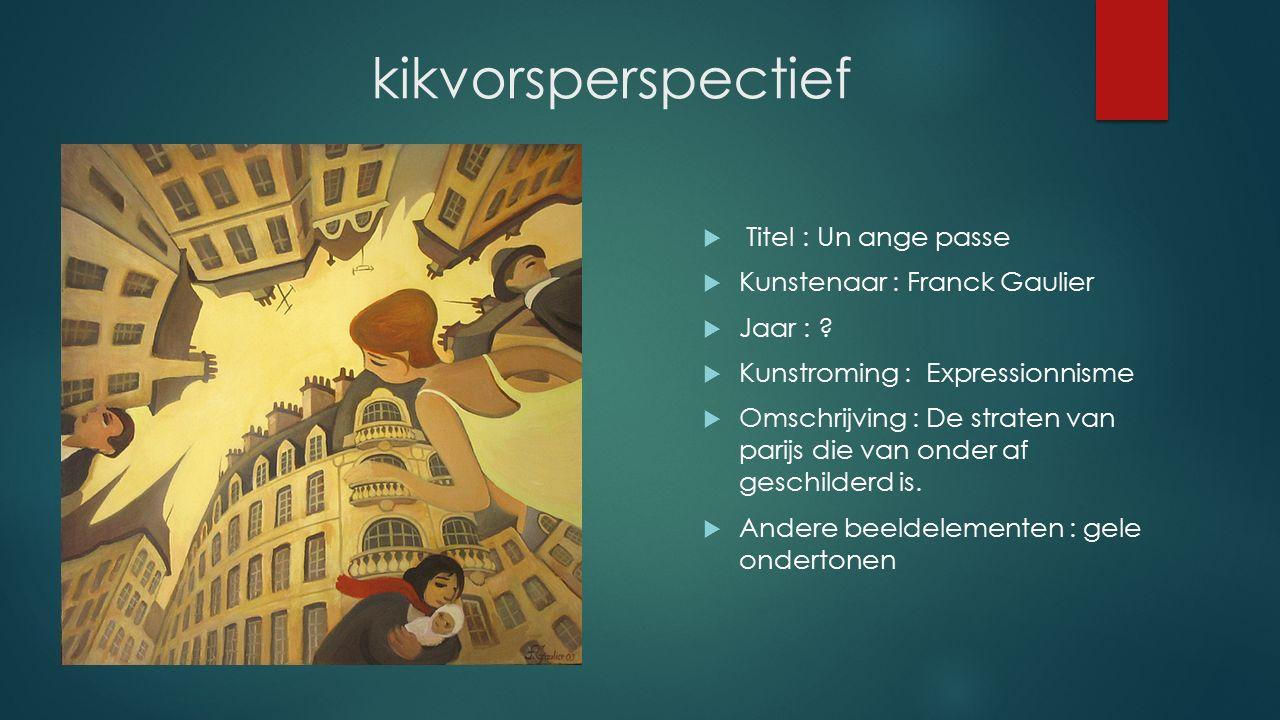 kikvorsperspectief  Titel : Un ange passe  Kunstenaar : Franck Gaulier  Jaar : ?  Kunstroming : Expressionnisme  Omschrijving : De straten van pa