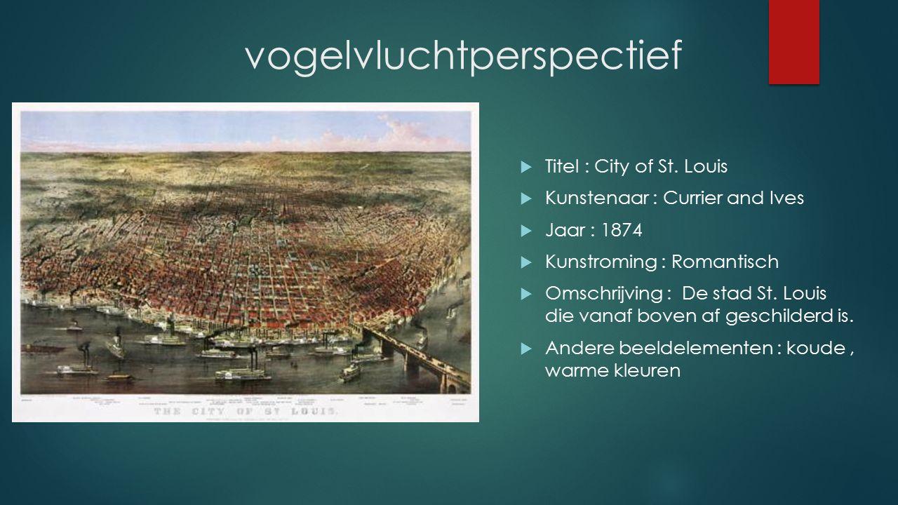 vogelvluchtperspectief  Titel : City of St. Louis  Kunstenaar : Currier and Ives  Jaar : 1874  Kunstroming : Romantisch  Omschrijving : De stad S