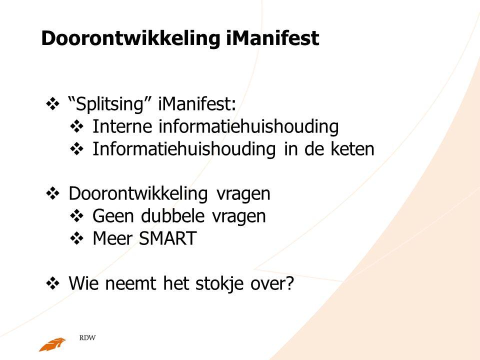 "Doorontwikkeling iManifest  ""Splitsing"" iManifest:  Interne informatiehuishouding  Informatiehuishouding in de keten  Doorontwikkeling vragen  Ge"