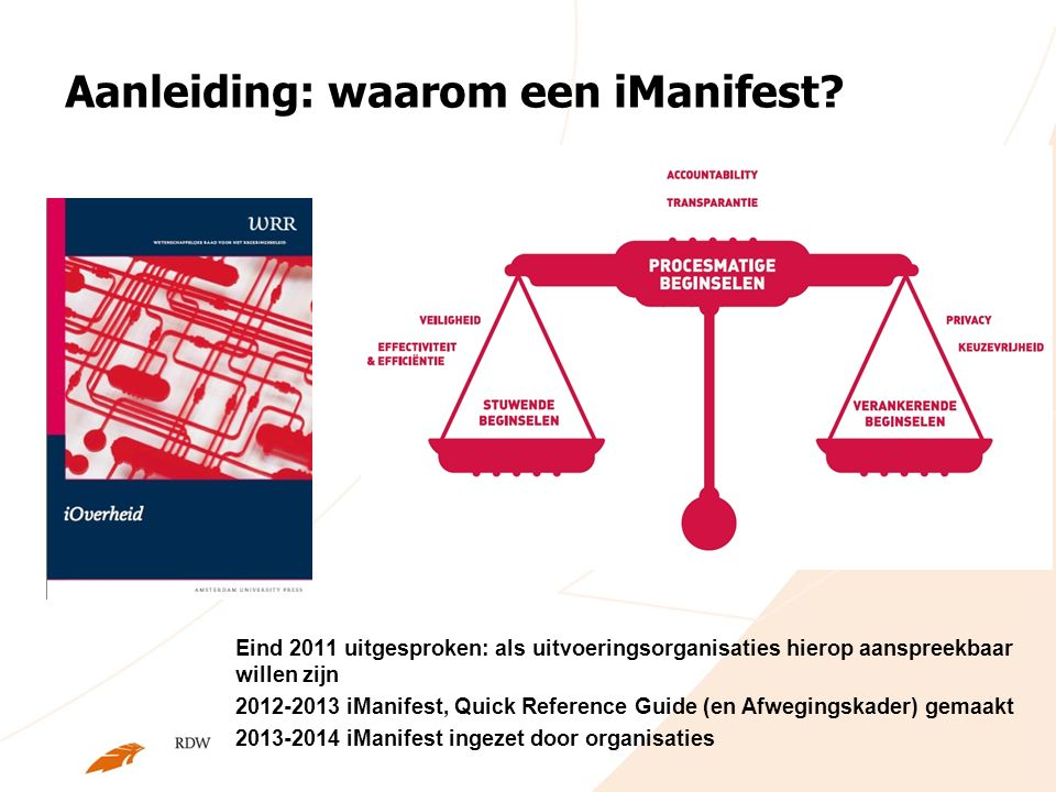 Aanleiding: waarom een iManifest? Eind 2011 uitgesproken: als uitvoeringsorganisaties hierop aanspreekbaar willen zijn 2012-2013 iManifest, Quick Refe