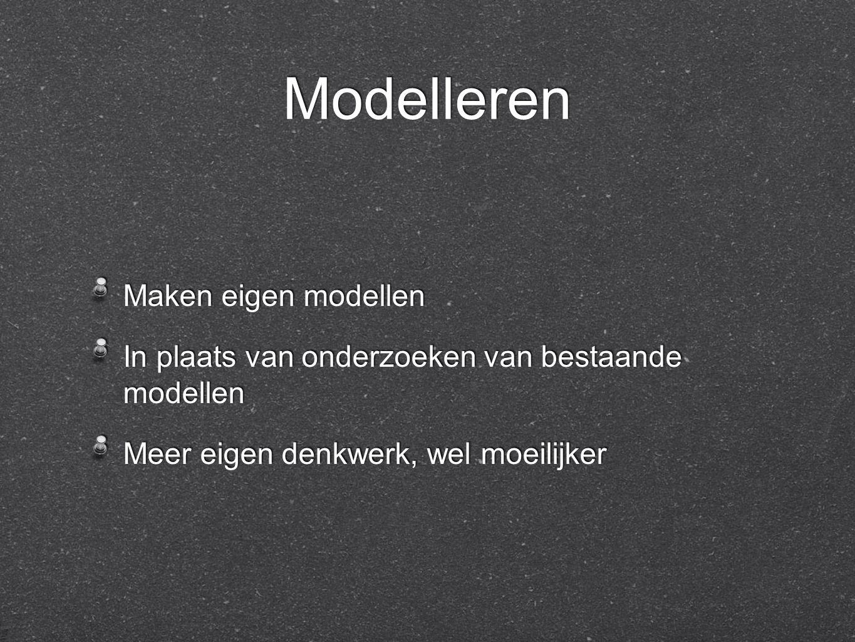 Modelleren Maken eigen modellen In plaats van onderzoeken van bestaande modellen Meer eigen denkwerk, wel moeilijker Maken eigen modellen In plaats van onderzoeken van bestaande modellen Meer eigen denkwerk, wel moeilijker