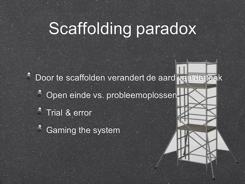 Door te scaffolden verandert de aard van de taak Open einde vs.
