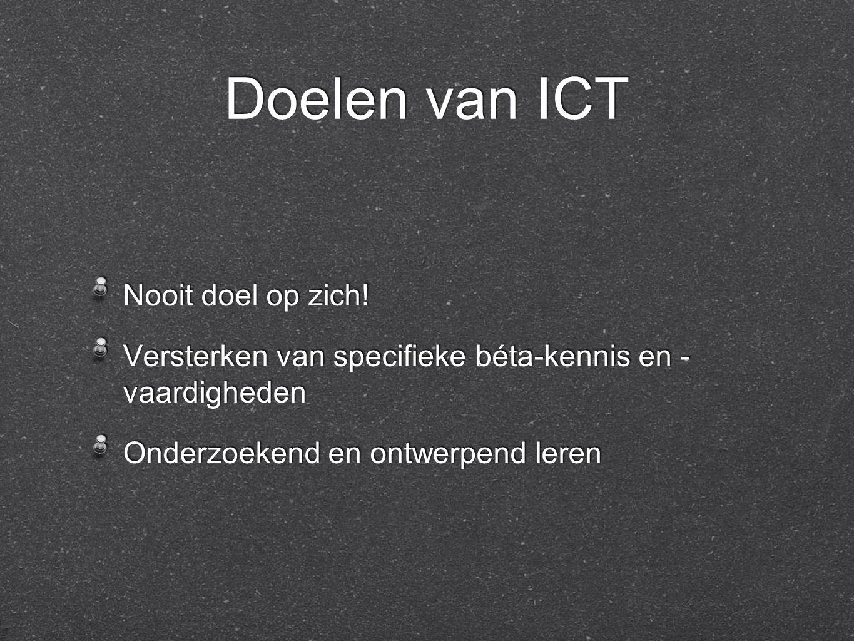 Doelen van ICT Nooit doel op zich.