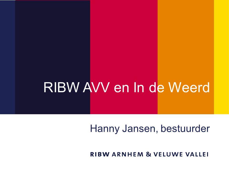 Titel van de presentatie RIBW AVV en In de Weerd Hanny Jansen, bestuurder