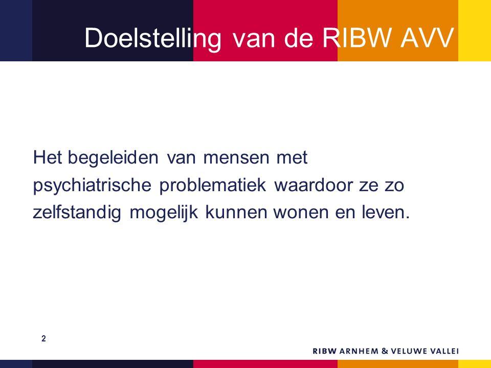 Doelstelling van de RIBW AVV Het begeleiden van mensen met psychiatrische problematiek waardoor ze zo zelfstandig mogelijk kunnen wonen en leven. 2