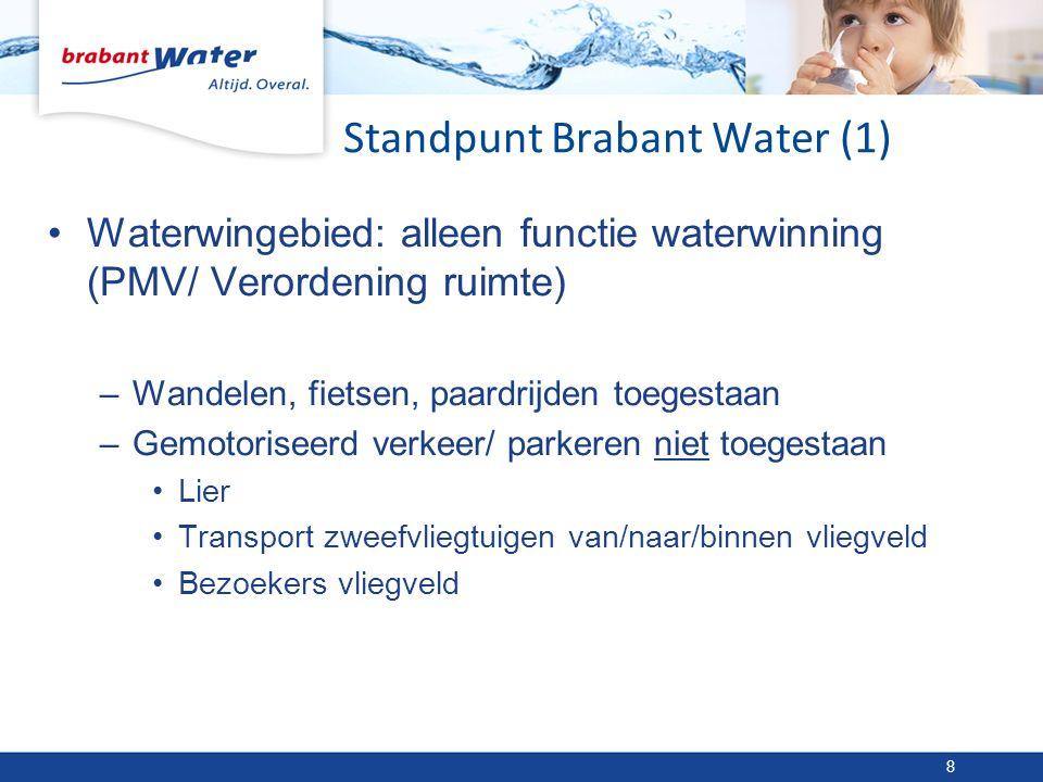 Standpunt Brabant Water (1) 8 Waterwingebied: alleen functie waterwinning (PMV/ Verordening ruimte) –Wandelen, fietsen, paardrijden toegestaan –Gemotoriseerd verkeer/ parkeren niet toegestaan Lier Transport zweefvliegtuigen van/naar/binnen vliegveld Bezoekers vliegveld