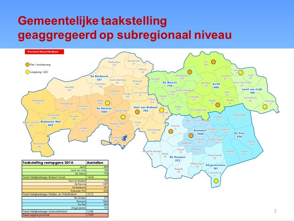 Gemeentelijke taakstelling geaggregeerd op subregionaal niveau 2