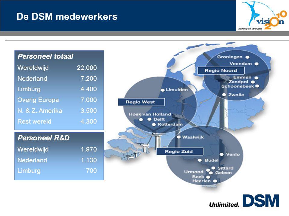 De DSM medewerkers Personeel totaal Wereldwijd 22.000 Nederland 7.200 Limburg 4.400 Overig Europa 7.000 N.