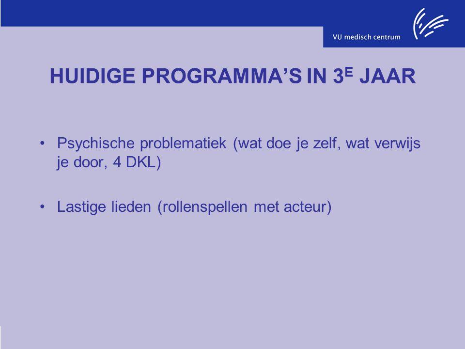HUIDIGE PROGRAMMA'S IN 3 E JAAR Psychische problematiek (wat doe je zelf, wat verwijs je door, 4 DKL) Lastige lieden (rollenspellen met acteur)