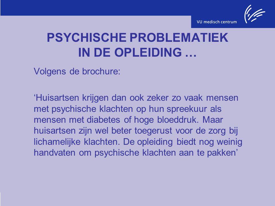 PSYCHISCHE PROBLEMATIEK IN DE OPLEIDING … Volgens de brochure: 'Huisartsen krijgen dan ook zeker zo vaak mensen met psychische klachten op hun spreekuur als mensen met diabetes of hoge bloeddruk.