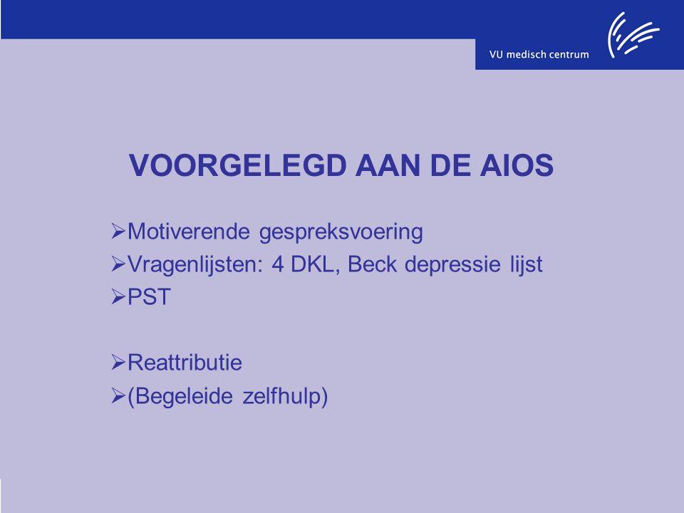 VOORGELEGD AAN DE AIOS  Motiverende gespreksvoering  Vragenlijsten: 4 DKL, Beck depressie lijst  PST  Reattributie  (Begeleide zelfhulp)