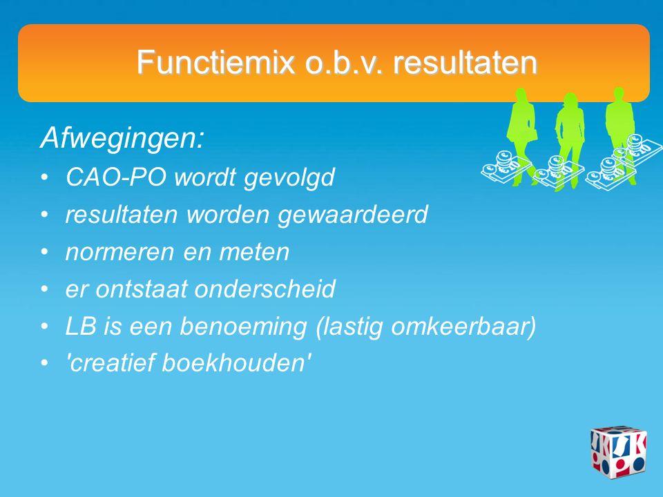 Functiemix o.b.v. resultaten Afwegingen: CAO-PO wordt gevolgd resultaten worden gewaardeerd normeren en meten er ontstaat onderscheid LB is een benoem
