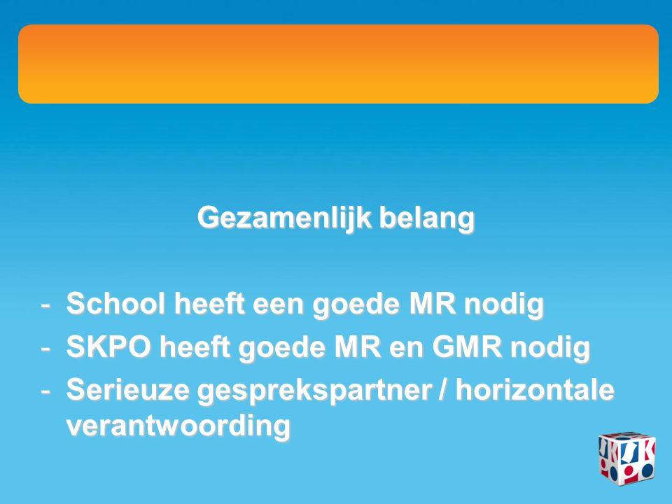 Gezamenlijk belang -School heeft een goede MR nodig -SKPO heeft goede MR en GMR nodig -Serieuze gesprekspartner / horizontale verantwoording