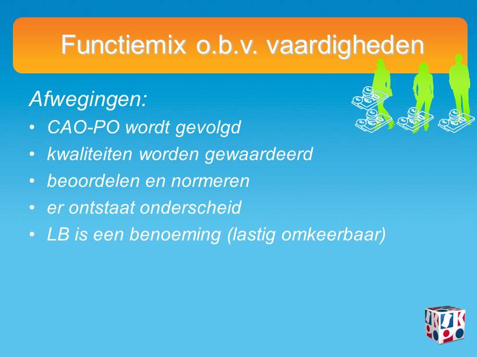 Afwegingen: CAO-PO wordt gevolgd kwaliteiten worden gewaardeerd beoordelen en normeren er ontstaat onderscheid LB is een benoeming (lastig omkeerbaar) Functiemix o.b.v.