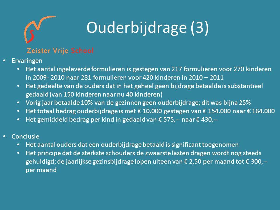 Ouderbijdrage (3) Ervaringen Het aantal ingeleverde formulieren is gestegen van 217 formulieren voor 270 kinderen in 2009- 2010 naar 281 formulieren v
