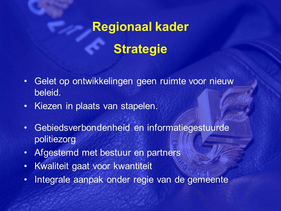 Regionaal kader Strategie Gelet op ontwikkelingen geen ruimte voor nieuw beleid.
