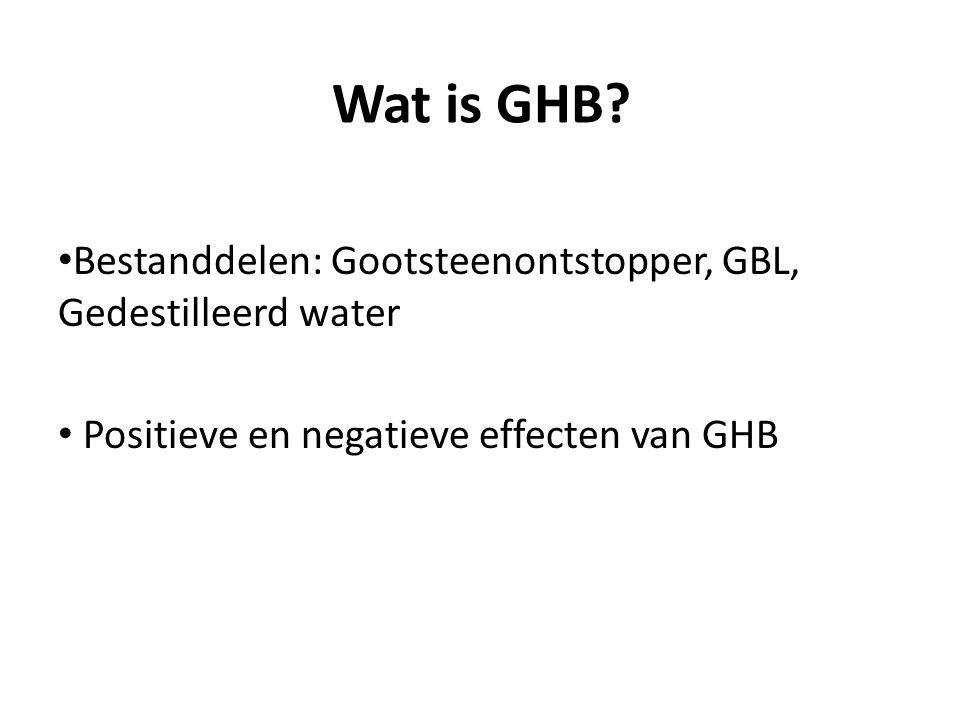 Wat is GHB? Bestanddelen: Gootsteenontstopper, GBL, Gedestilleerd water Positieve en negatieve effecten van GHB