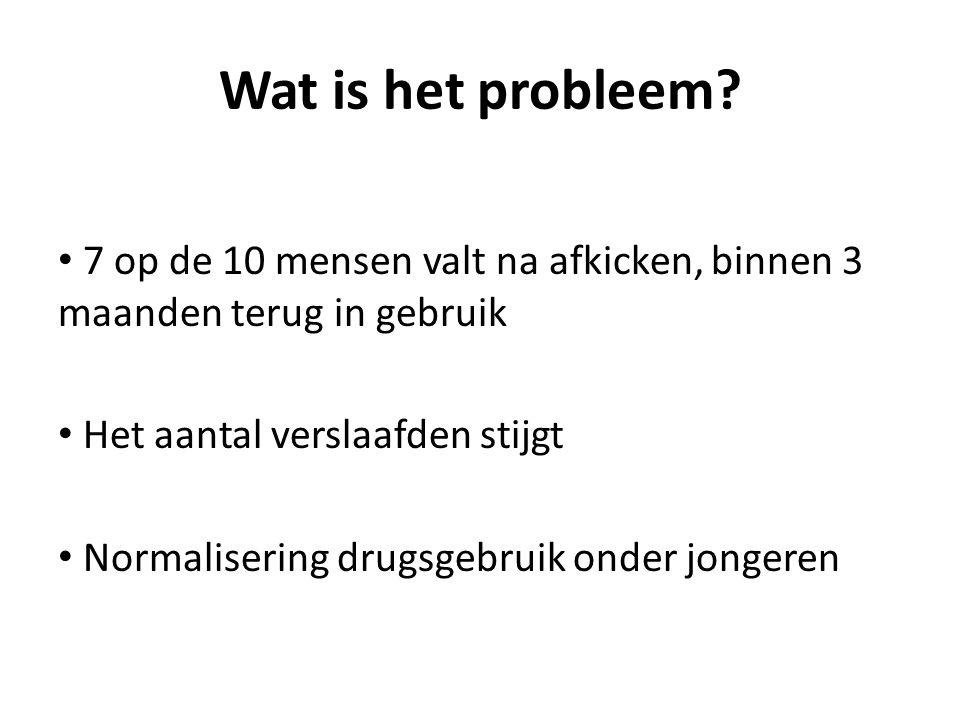 Wat is het probleem? 7 op de 10 mensen valt na afkicken, binnen 3 maanden terug in gebruik Het aantal verslaafden stijgt Normalisering drugsgebruik on