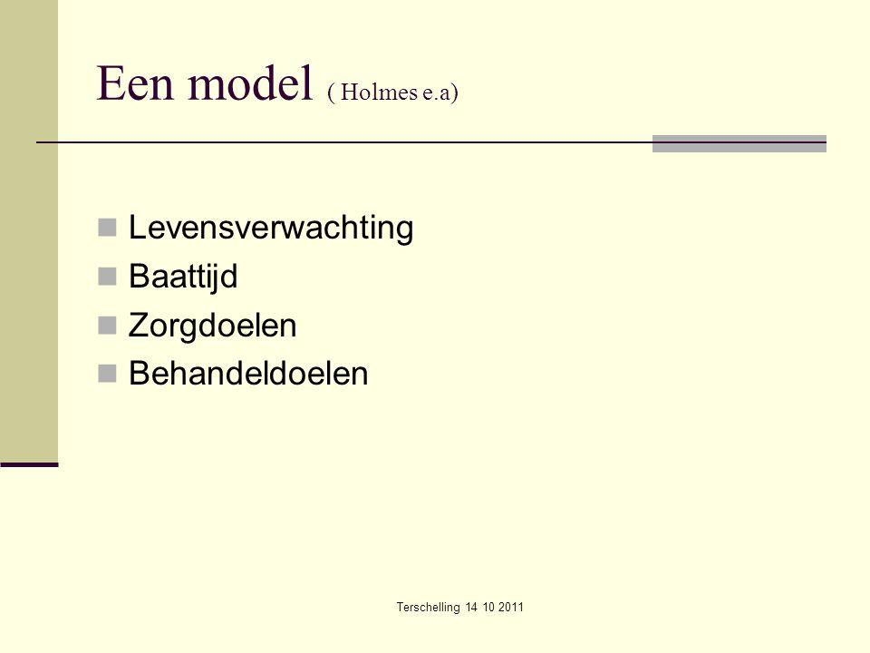 Terschelling 14 10 2011 Een model ( Holmes e.a) Levensverwachting Baattijd Zorgdoelen Behandeldoelen