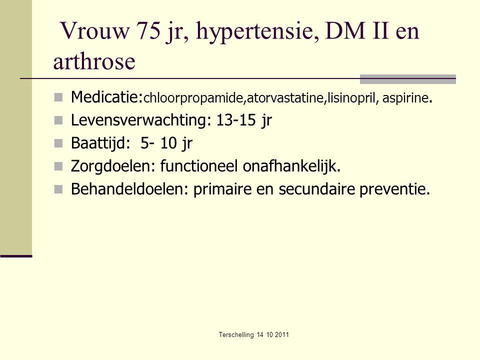 Terschelling 14 10 2011 Vrouw 75 jr, hypertensie, DM II en arthrose Medicatie: chloorpropamide,atorvastatine,lisinopril, aspirine. Levensverwachting: