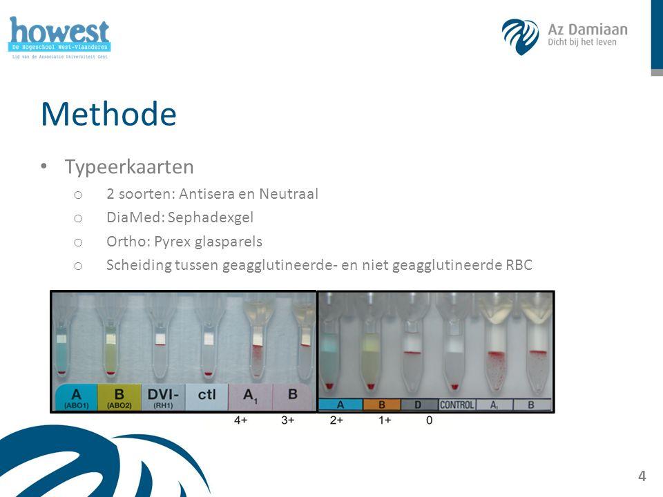 Methode Typeerkaarten o 2 soorten: Antisera en Neutraal o DiaMed: Sephadexgel o Ortho: Pyrex glasparels o Scheiding tussen geagglutineerde- en niet ge