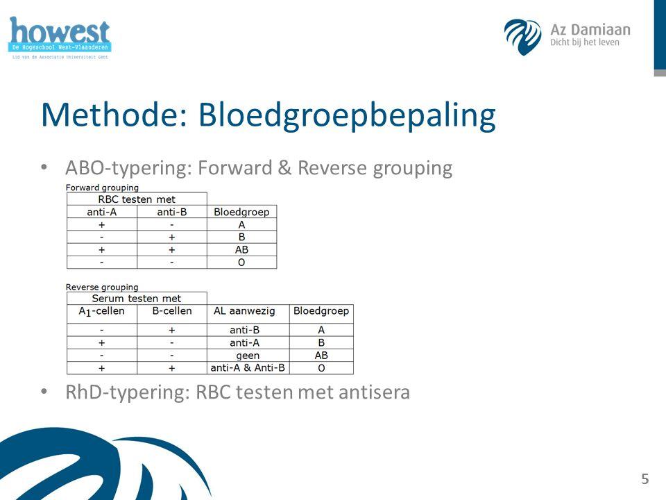 Methode: Crossmatch Contact tussen RBC donor en serum receptor ABO- en RhD-typering gekend Bij voorkeur: isotype o Uitzondering: O negatief 6