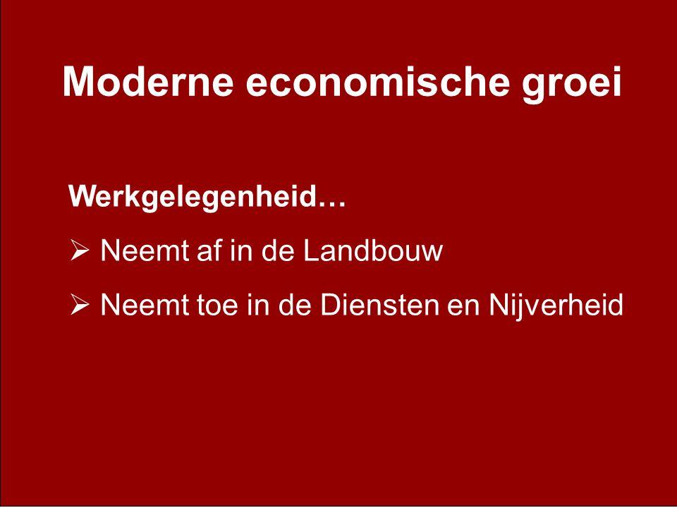 Moderne economische groei Werkgelegenheid…  Neemt af in de Landbouw  Neemt toe in de Diensten en Nijverheid