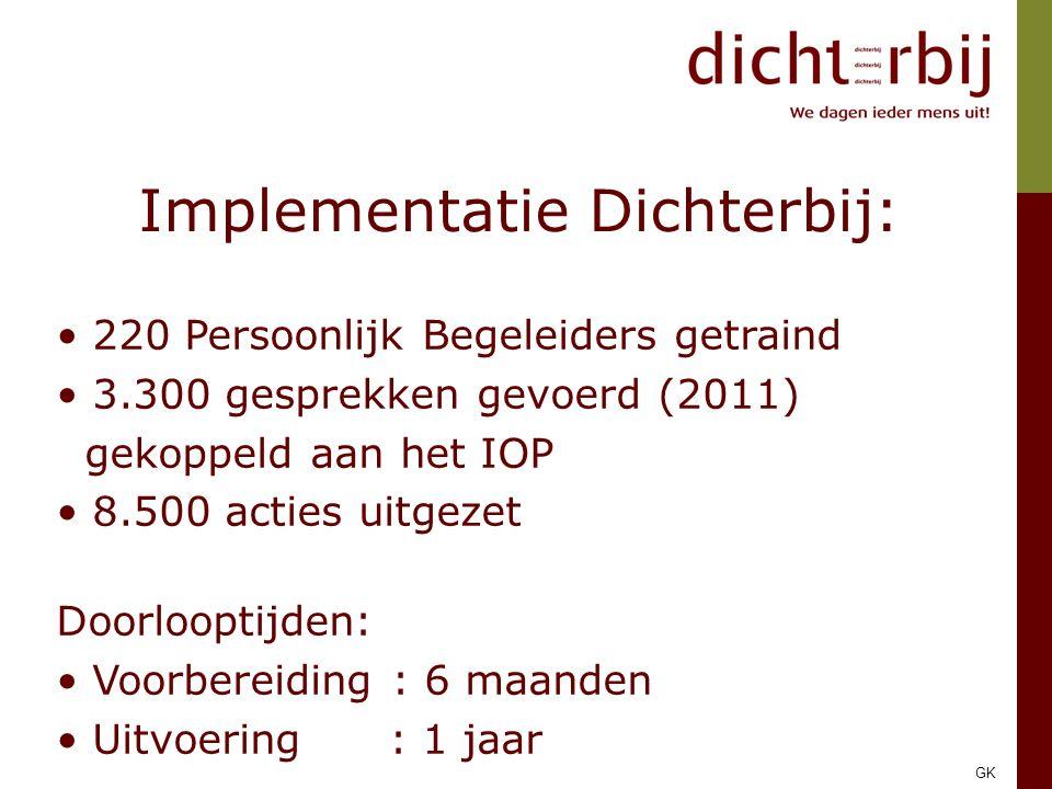 Implementatie Dichterbij: 220 Persoonlijk Begeleiders getraind 3.300 gesprekken gevoerd (2011) gekoppeld aan het IOP 8.500 acties uitgezet Doorlooptijden: Voorbereiding : 6 maanden Uitvoering : 1 jaar GK