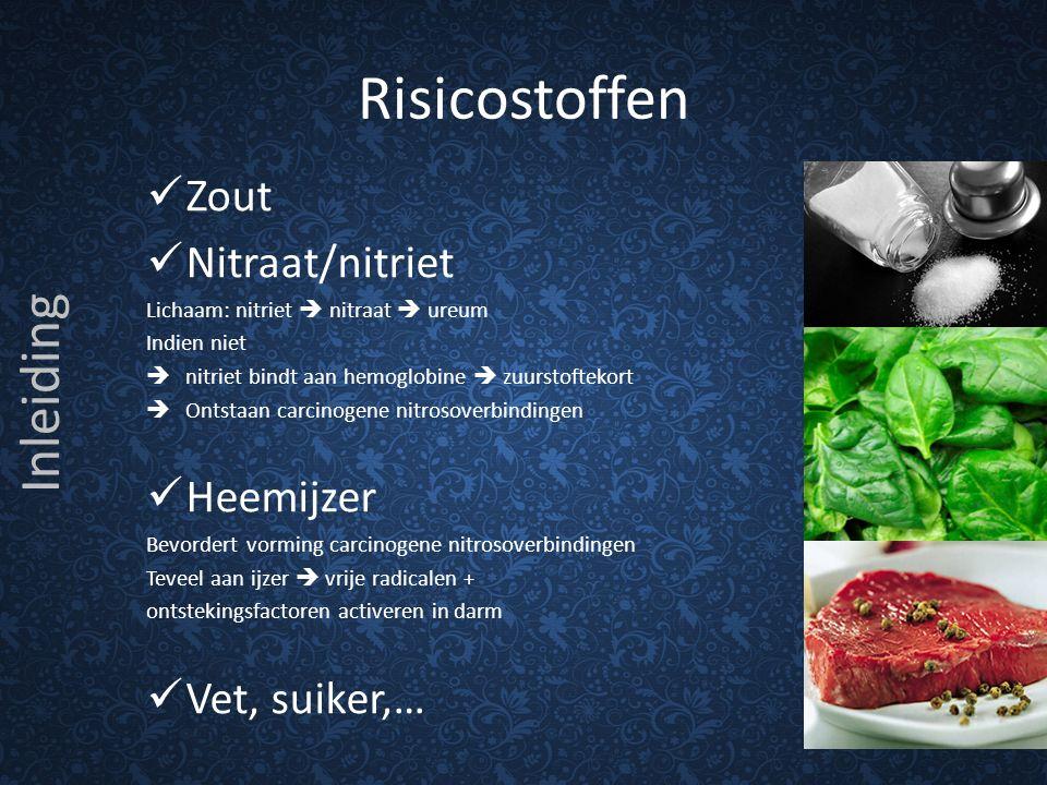 Risicostoffen Zout Nitraat/nitriet Lichaam: nitriet  nitraat  ureum Indien niet  nitriet bindt aan hemoglobine  zuurstoftekort  Ontstaan carcinog