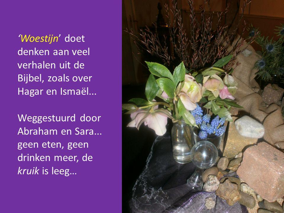 'Woestijn' doet denken aan veel verhalen uit de Bijbel, zoals over Hagar en Ismaël... Weggestuurd door Abraham en Sara... geen eten, geen drinken meer